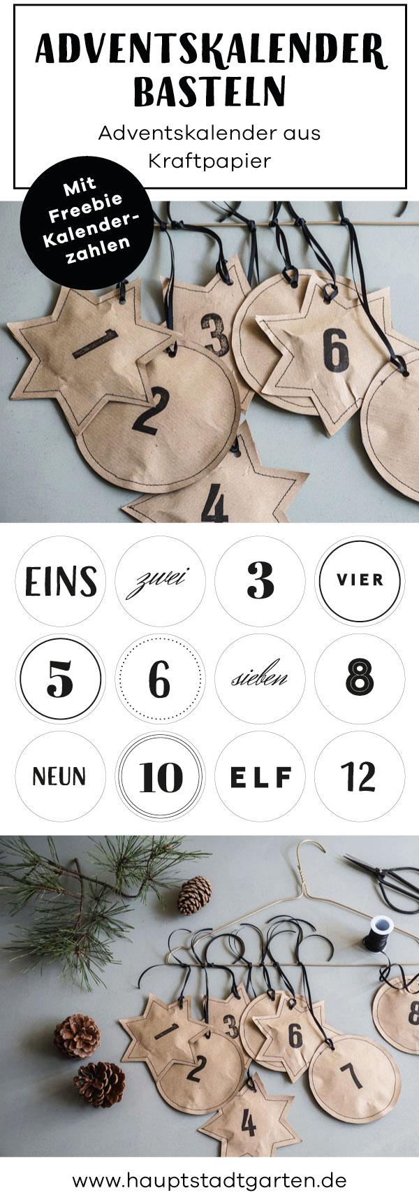 Schöner Adventskalender auf Kraftpapier mit tollen Kalender Zahlen als Freebie zum Download.