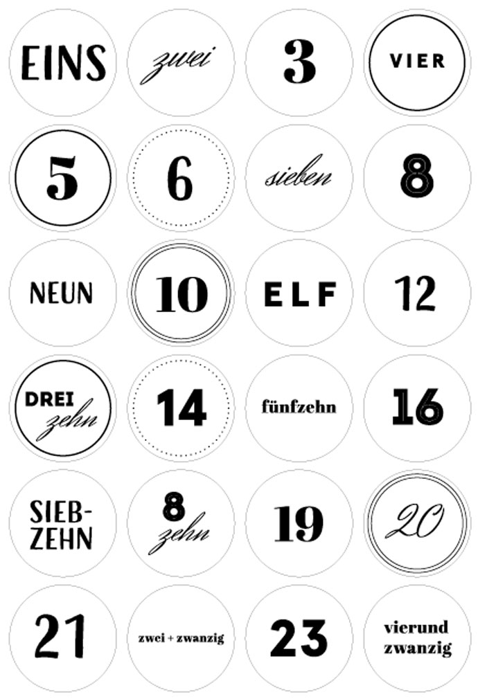 Adventskalender Zahlen Freebie