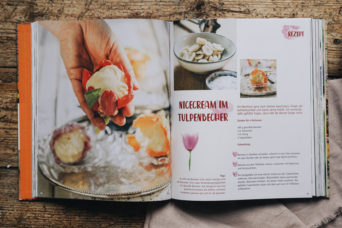Blüten-Genuss Tafel und Teller Nicecream