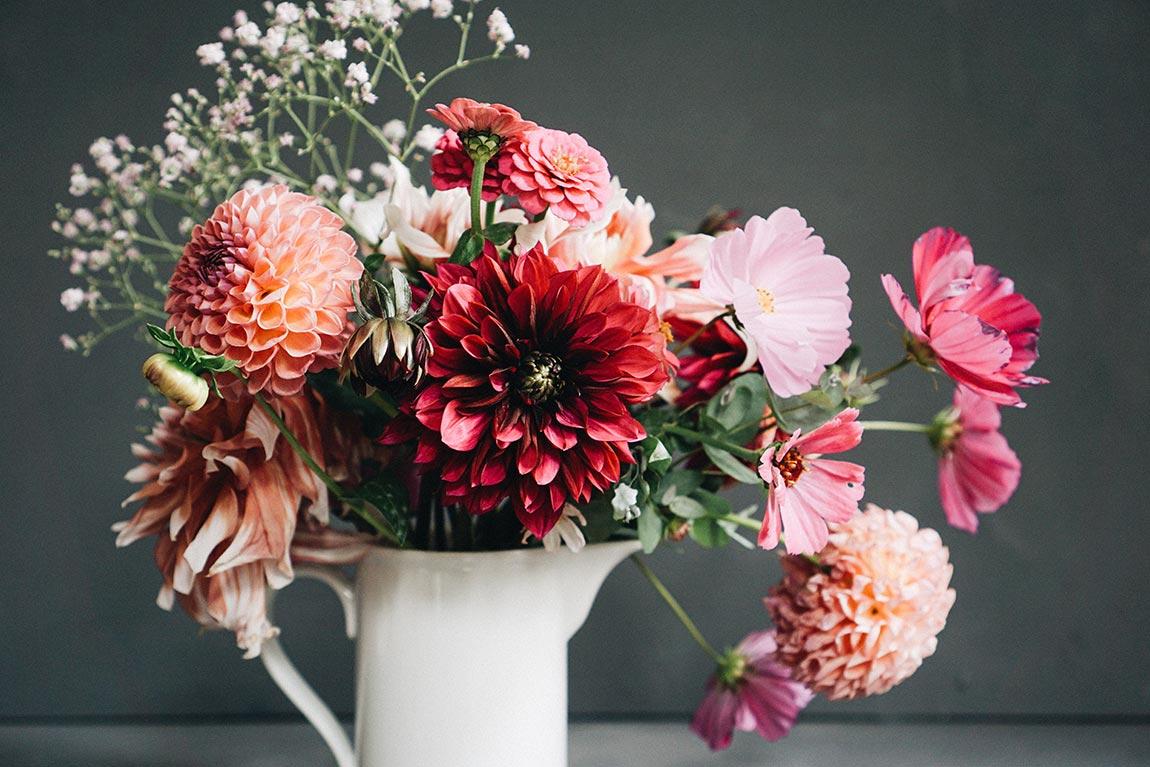 Dahlien Blumenstrauß in der Vase