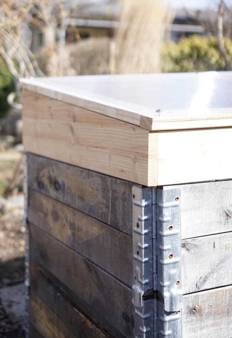 Frühbeet selber bauen für Hochbeet aus Paletten