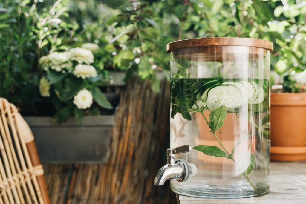 Infused Water im Spender für die Gartenparty