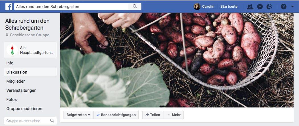 Komm in die Schrebergarten Facebook-Gruppe